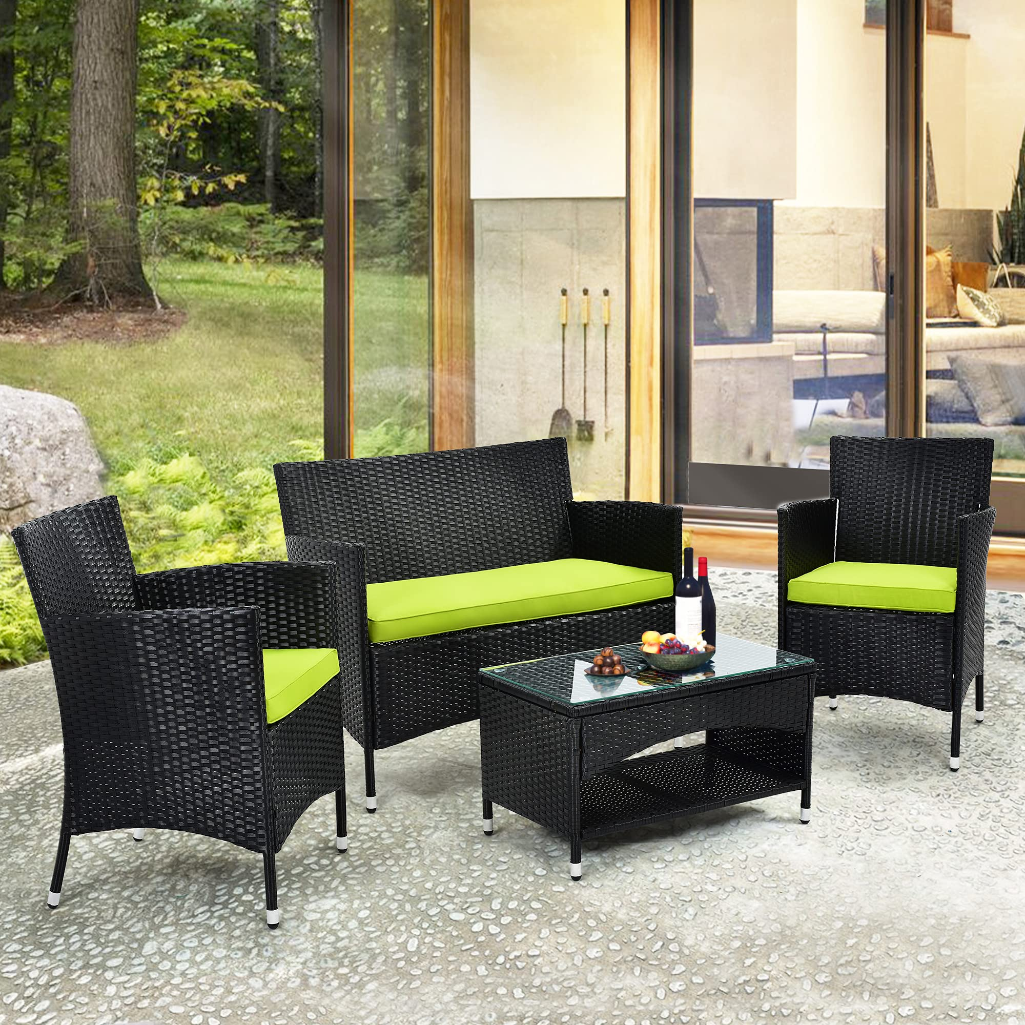 merax 4 pc rattan patio furniture set wicker conversation set garden lawn outdoor sofa set cushioned seat tempered glass table top