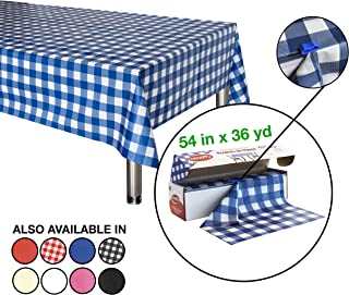 Neatiffy 54 Inch x 108 Feet Disposable Plastic Table Cloth Roll, Party/Banquet Table Cover, Tablecloths For Rectangle/Round/Square Tables, Equals To 12 Picnic Pack (Blue Checkered)