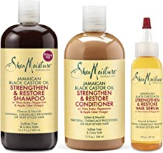 Shea Moisture Jamaican Black Castor Oil Strengthen Grow & Restore Combination Pack, Shampoo 16.3 Ounce   Conditioner 13 Ounce   Hair Serum 2 Ounce