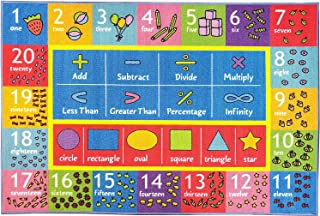 "KC Cubs Playtime Collection Math Symbols, Numbers and Shapes Educational Learning Area Rug Carpet For Kids and Children Bedroom and Playroom (8' 2"" x 9' 10"")"