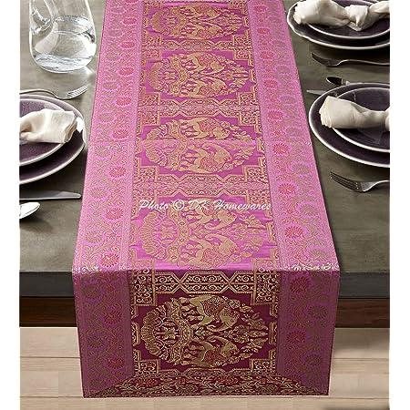 DK Homewares Tradition Indienne Bébé Rose Brocart Chemin De Table 40 X 150 Cm Décor De Cuisine Jacquard Rectangle 5 Pieds Nappe De Table (60 X 16 Pouces/Or Rose Bébé)