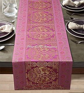 DK Homewares Tradition Indienne Bébé Rose Brocart Chemin De Table 40 X 150 Cm Décor De Cuisine Jacquard Rectangle 5 Pieds ...