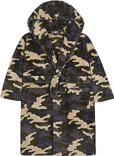 4Kidz Boys Camo Plush Fleece Dressing Gown with Hood