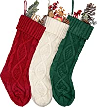 MOSTOP 3 Pack Knit Christmas Stockings, Unique 18 inches Large Size Cable Knitted Xmas Rustic Stocking Decorations for Fam...