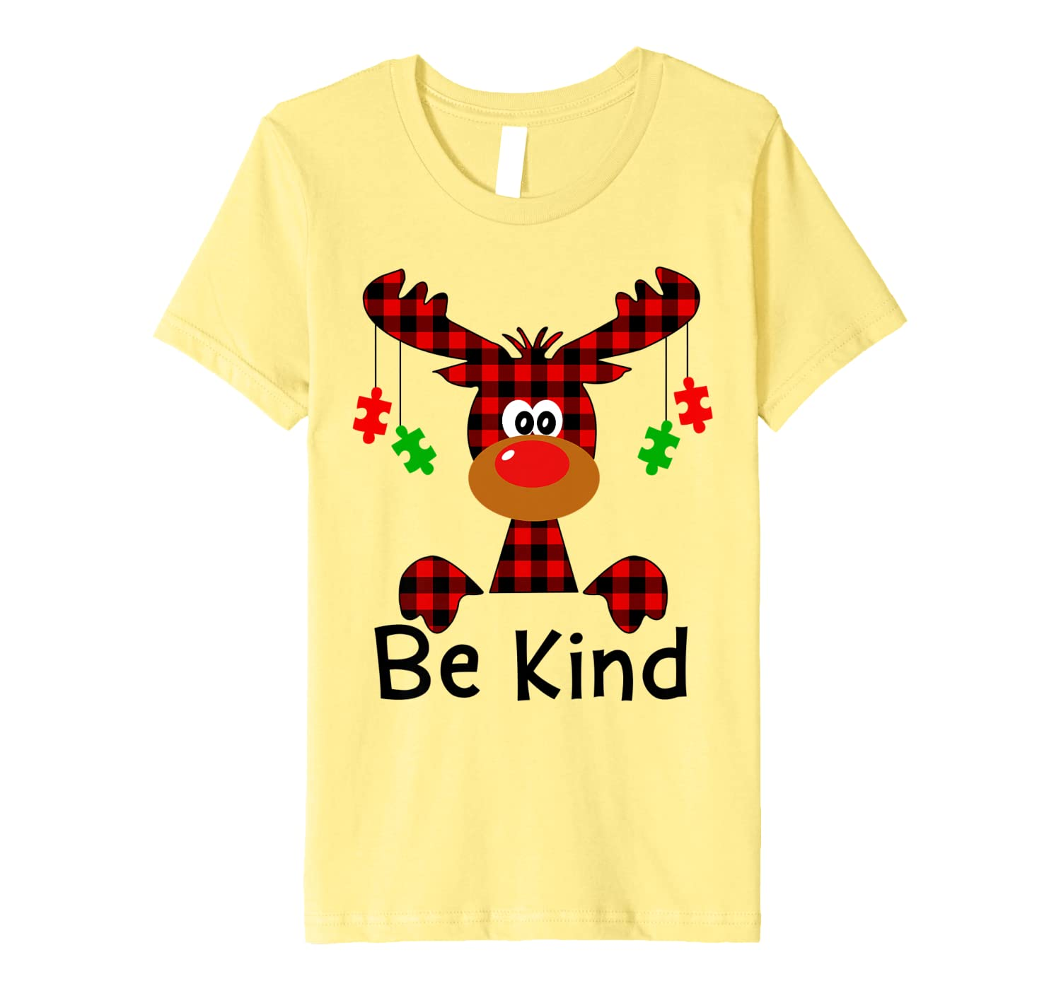 Be Kind Autism Awareness Christmas Reindeer Hippie Bullying Premium T-Shirt