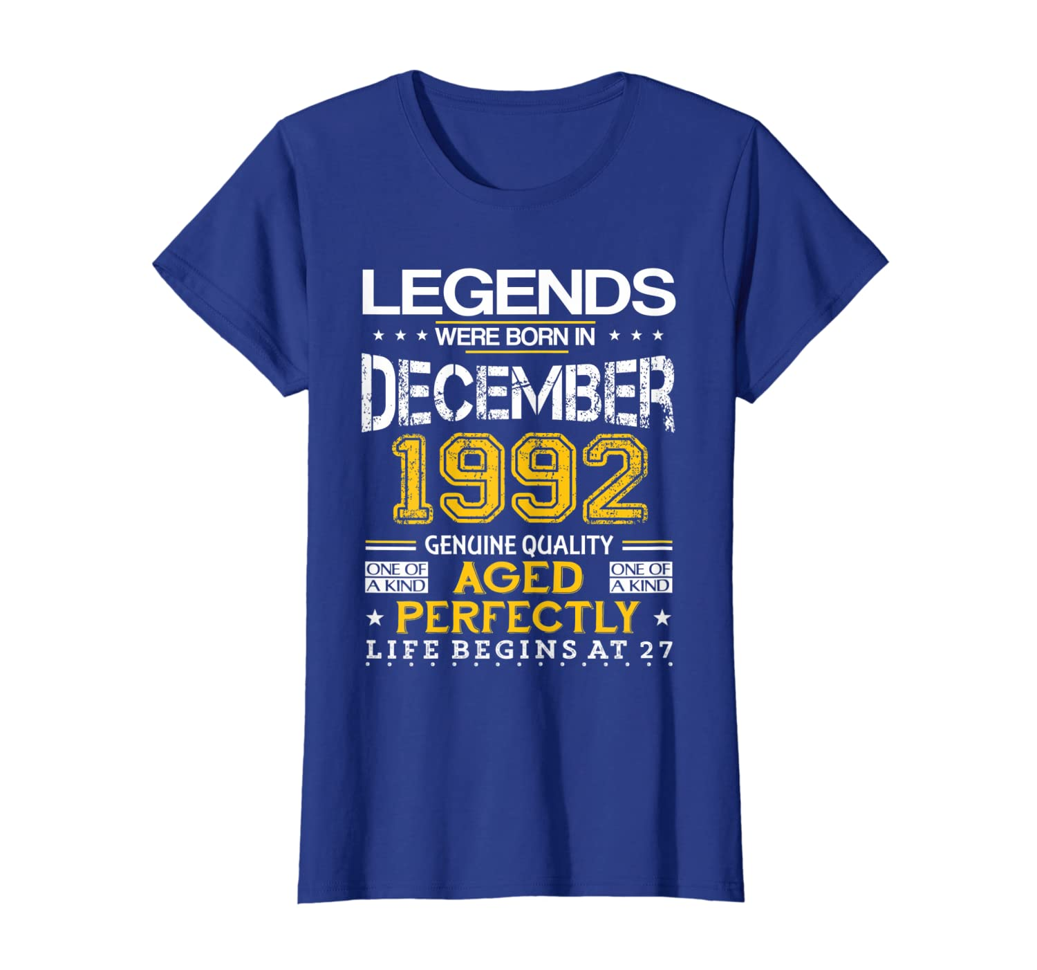 27th Birthday Gifts Vintage Legends Born In December 1992 T-Shirt