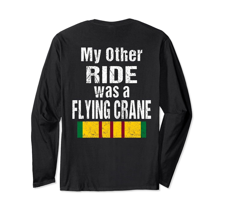 (Print on Back ) Vietnam Veteran Biker Gift Flying Crane Long Sleeve T-Shirt