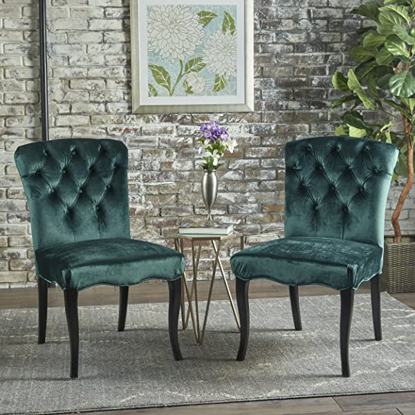 Christopher Knight Home 301496 Hallie Traditional New Velvet Armless Dining Chairs Set Of 2 Teal Dark Brown