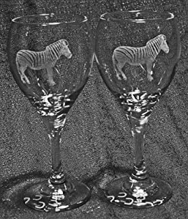 Muddy Creek Reflection Zebra Laser Etched Wine Glass Set (2, TDW)