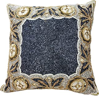 Linen Clubs Beaded Throw Pillow Cover/Euro Sham/Cushion Sham, Super Luxury Soft Pillow Cases-Square Design 14x14 Charcoal Gold Multi