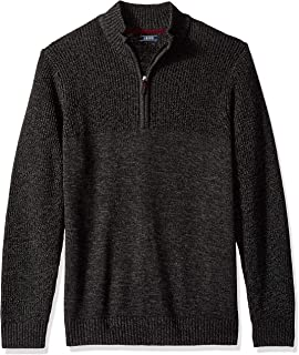 IZOD Men's Slim Fit Newport Marled Quarter Zip 7 Gauge Textured Sweater
