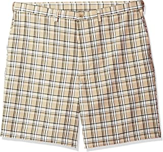 Haggar Men's Big and Tall B&t Cool 18 Pro Classic Fit Stretch Plaid Flat Front Short