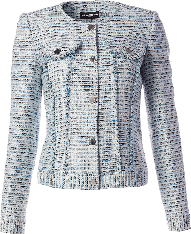 Karl Lagerfeld Paris Womens Tweed Open Front Jacket