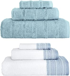 Classic Turkish Towel 3 Piece Towel Set with Decorative Dobby - Ultra Soft Texture with Premium Absorbency(600 GSM) (Blue,...