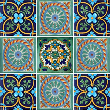 "Color y Tradicion 9 Mexican Tiles 4"" x 4"" Hand Painted Talavera F-30"