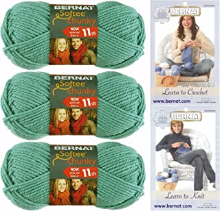 Bernat Softee Chunky Yarn Bundle Super Bulky #6, 3 Skeins Seagreen 28219