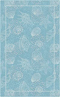 Brumlow Mills Seas the Day Seashells Beach and Ocean Area Rug for Kitchen, Deck, Patio or..