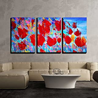 wall26 - 3 Piece Canvas Wall Art - Abstract Red Flowers Painting on Canvas with Acrylic Colours.I Paint This Picture in 2010. - Modern Home Decor Stretched and Framed Ready to Hang - 16