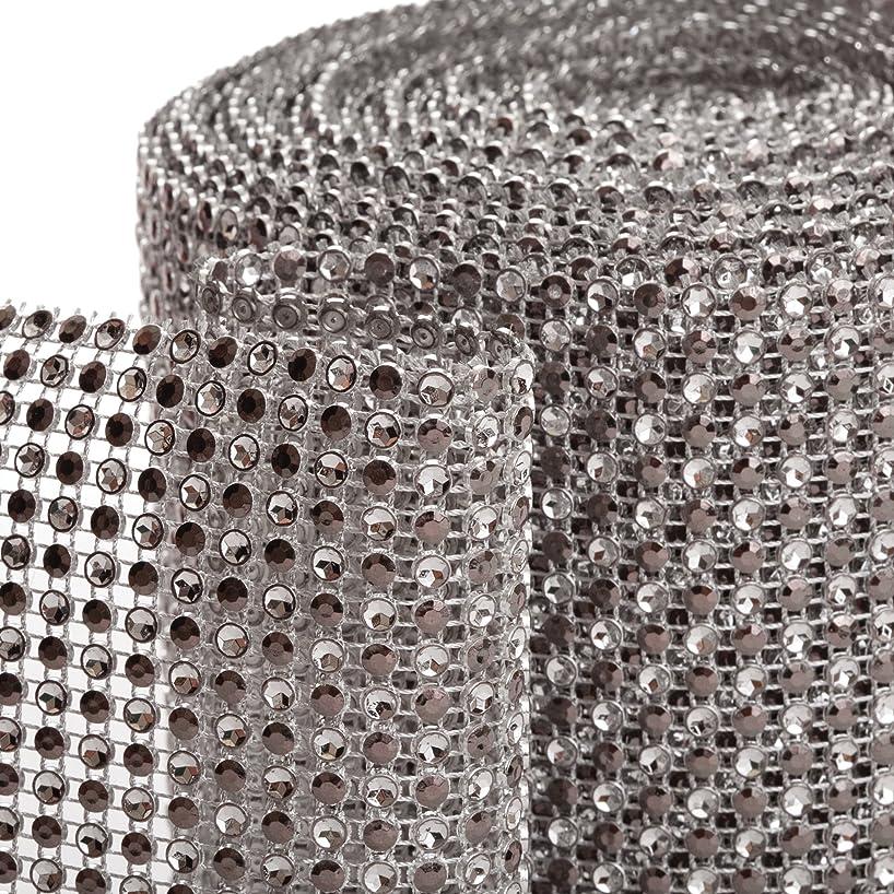 Koyal 2-Tone Diamond Rhinestone Ribbon Wrap, Silver