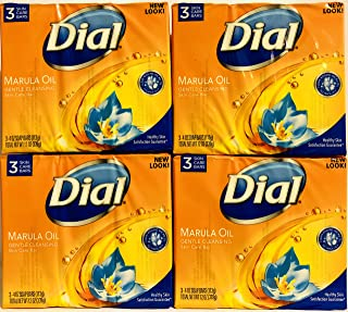 Dial Skin Care Bar - Marula Oil - Gentle Cleansing - 4 OZ (113 g) Per Bar - 3 Count Bars Per Package - Pack of 4 Packages