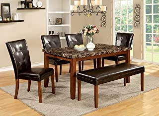 Furniture of America Smithson 6-Piece Transitional Faux Marble Dining Set