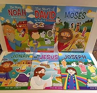 6 Big Sticker Books of Bible Hero Stories - Moses, David, Noah, Joseph, Jonah and Jesus