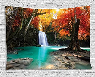 Ambesonne Natural Waterfall Decor Collection, Deep Forest Waterfall Runoff Autumn Forest , Bedroom Living Room Dorm Wall Hanging Tapestry, 60W X 40L Inch