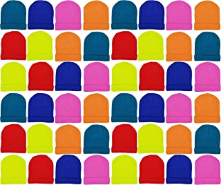 48 Pack Kids Winter Beanies, Warm Cold Weather Hats for...