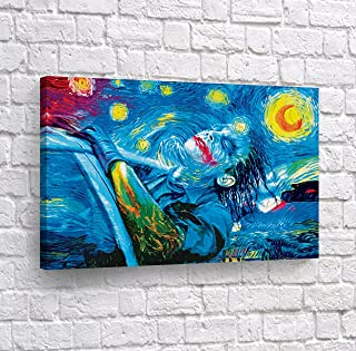 Joker Oil Painting Van Gogh Starry Night CANVAS PRINT Wall Art Decorative Home Decor Poster Artwork Framed and Stretched- Ready to Hang -%100 Handmade in the USA - 8x12