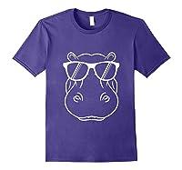 Hippopotamus Lover - Cool Hippo W/ Sunglass Tank Top Shirts Purple