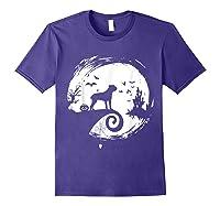 Cane Corso Halloween Costume Moon Silhouette Creepy T-shirt Purple