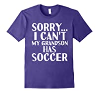 Grandpa Grandma | My Grandson Has Soccer T-shirt Purple