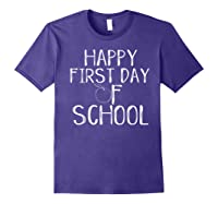 Happy First Day Of School 1st Tea Apple Cute Welcome T-shirt Purple