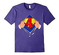 4 Year Old Superhero Birthday Party Super Hero 4th Gift Shirts Purple