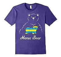 Down Syndrome Mom Awareness Trisomy 21 Gold Blue Ribbon Gift T-shirt Purple