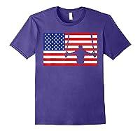 Gymnastics Rings Usa American Flag Gymnast 4th Of July T-shirt Purple
