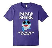 Papaw Shark T-shirt Doo Doo Doo Fathers Day Papaw Shirt Purple