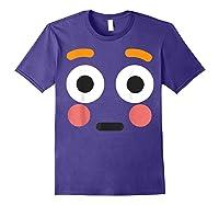 Flushed Face Emoji Easy Lazy Group Halloween Costume Shirts Purple