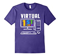 Remote Teaching Online Learning Virtual Tea Premium T-shirt Purple