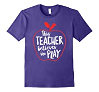 This Tea Believes In Play Tea Shirt With Apple T-shirt Purple