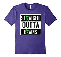 Straight Out Of Brains Funny Zombie Halloween Shirts Purple