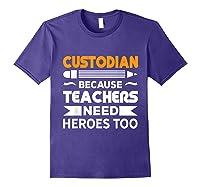 School Custodian Funny T-shirt Purple