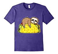 Funny Sloth Tacos Tuesday Cinco De Mayo Drink Gift Shirts Purple