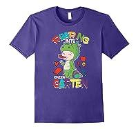 Roaring Into Kindergarten Dinosaur Shirt First Day School Premium T-shirt Purple