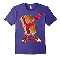 Dabbing Hot Dog Shirt   Cool American Hot Dog Sandwich Gift Purple