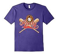 Baseball Player Rudy Birthday Boy T-shirt \\\'s Name Purple