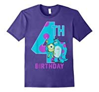 Pixar Monsters Inc Mike Sully Happy 4th Birthday Shirts Purple