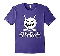 Halloween Hockey Pumpkin Welcome To Hocktober T Shirt Purple