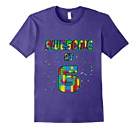 6 Years Old Birthday Gift I Age 6 Build Blocks Bricks Theme T-shirt Purple
