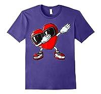 Dabbing Heart Valentines Day Love Dab Dance Gifts T-shirt Purple